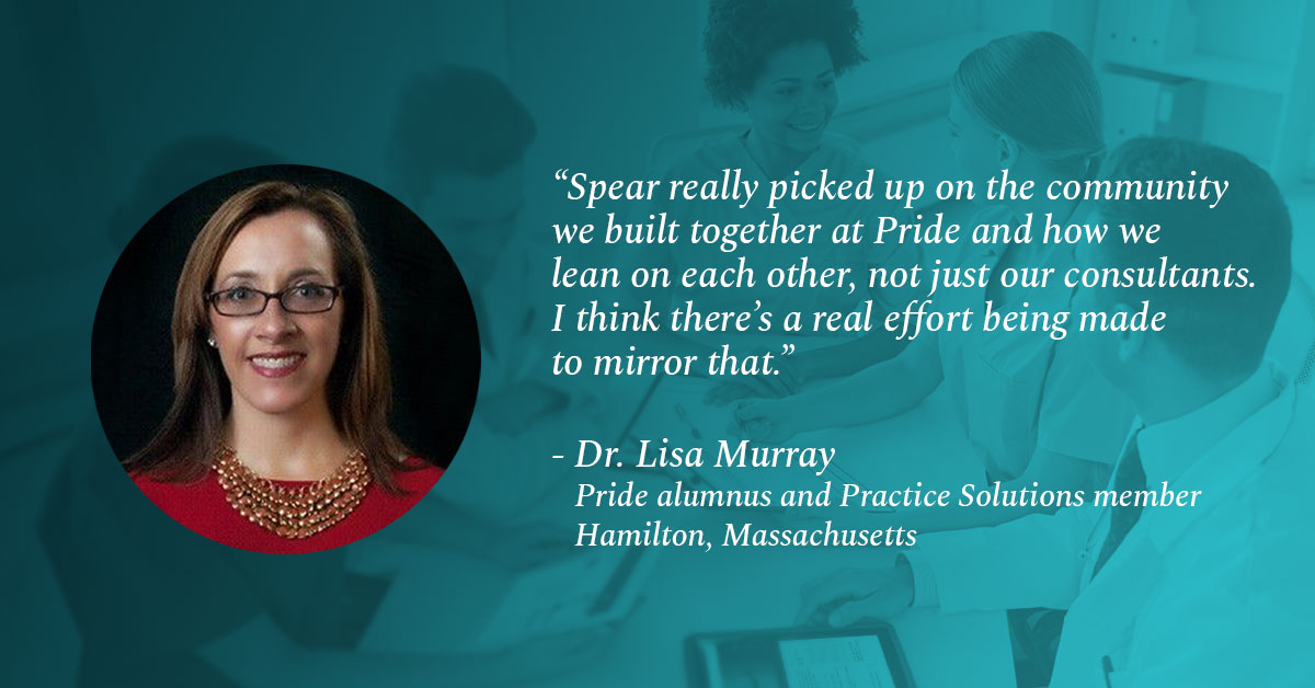 Pride alumnus and Practice Solutions member, Dr Lisa Murray quoted: Spear really picked up on the community we built together at Pride and how we lean on each other, not just our consultants. I think there's a real effort being made to mirror that.