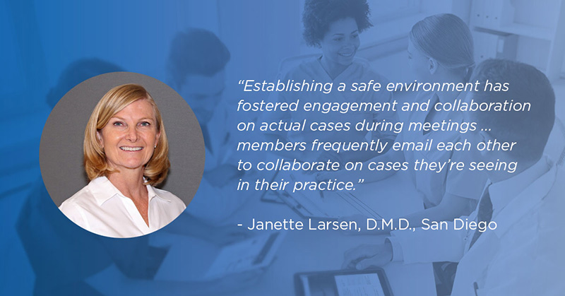 Quote from Dr. Larsen: Establishing a safe environment has fostered engagement and collaboration on actual cases...