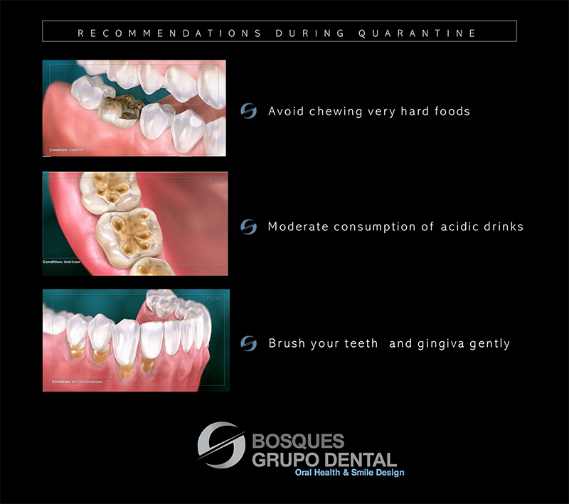 Example of Spear Online Patient Education slides designed to help patients understand their oral health implications during quarantine due to the coronavirus.