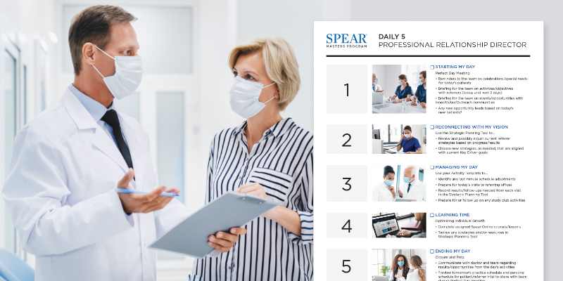 Man and woman speaking while wearing PPE - Infograph of Spear Masters Program - Daily 5 - Professional Relationship Director in the foreground