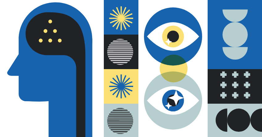 Graphics representing behavior, human brain and eyes.