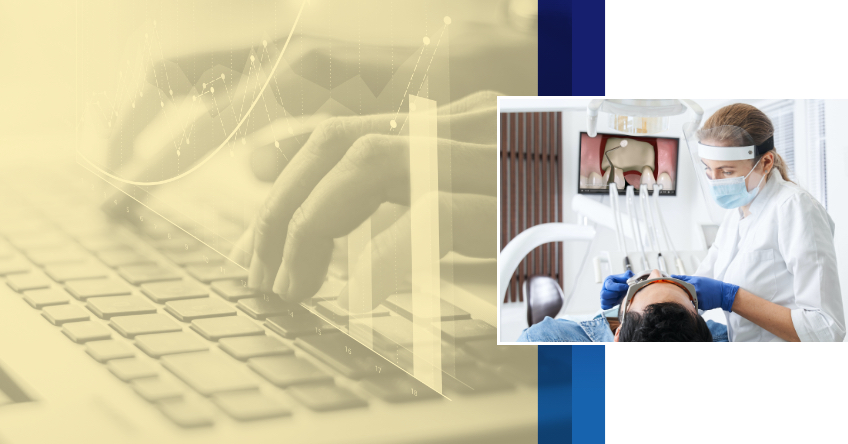 Featured Image: Hands typing on keyboard (left), dentist examining patient's mouth (right)
