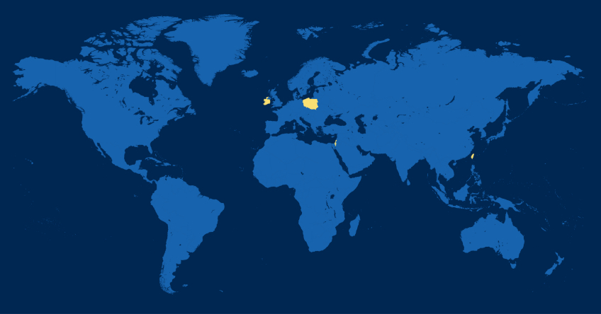 World map in blue with Taiwan, Poland, Ireland, and Israel highlighted in yellow
