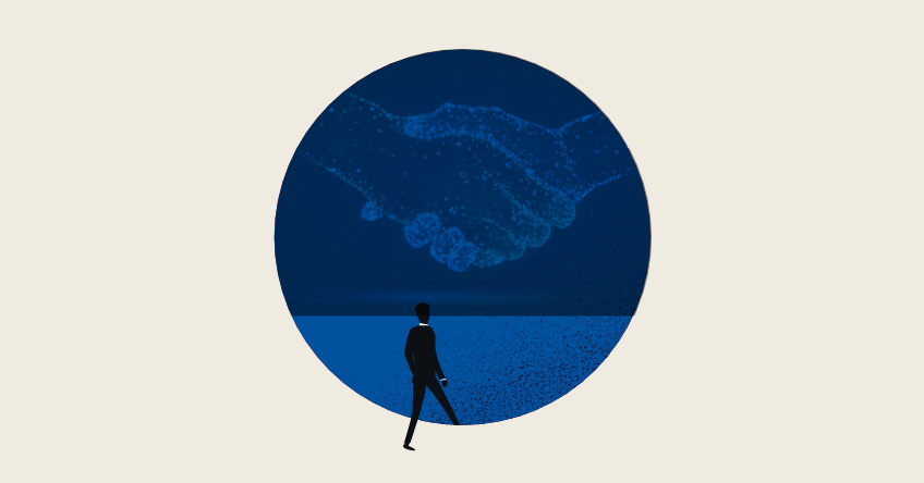 Silhouette of man stepping into a blue circle with handshake outline inside