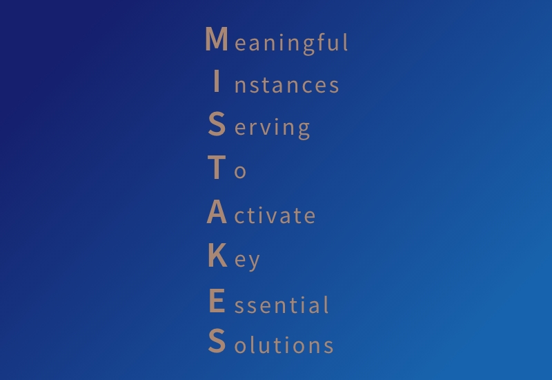 Yellow text on blue background spelling out the word mistakewith the following words: Meaningful instances serving to activate key essential solutions.