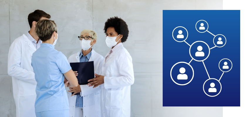 Team members in doctor coats and scrubs huddled in a meeting (left) next to an icon representing people networking on a blue square background (right)
