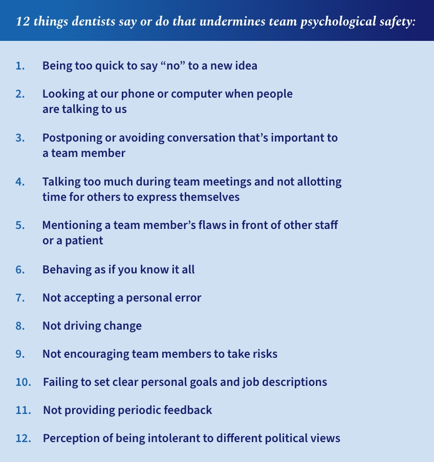 12 things dentists say that undermines psychological safety
