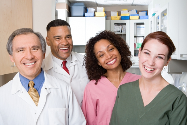 happy productive dental team