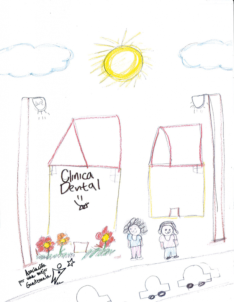 Child's drawing of a building with flowers and two people.